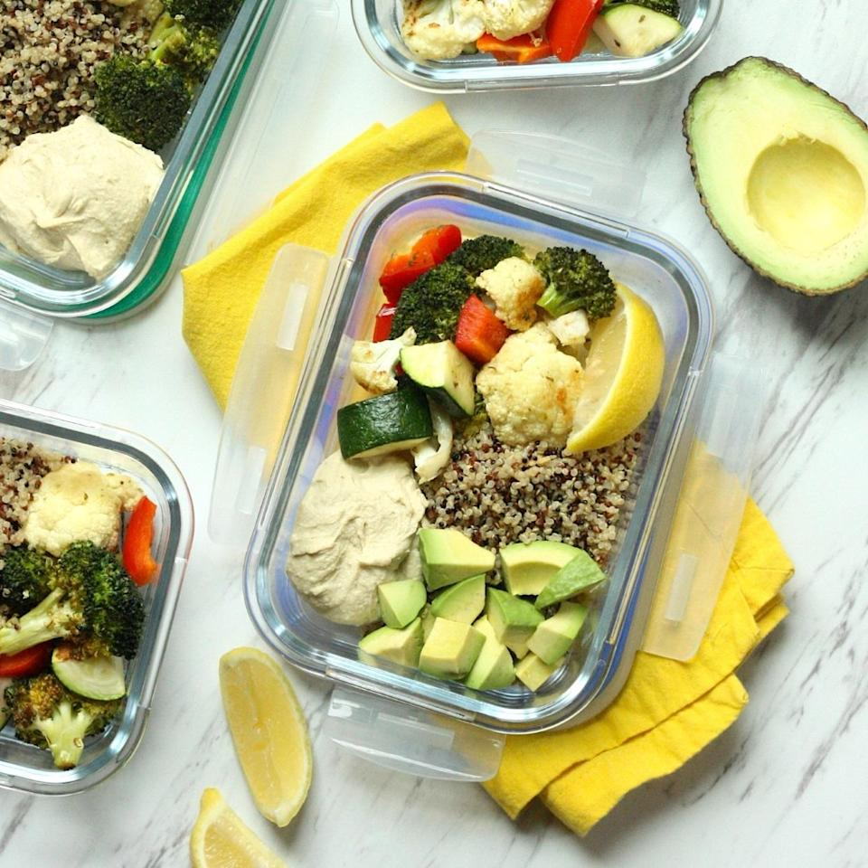 <p>Brimming with colorful roasted vegetables, these plant-based meal-prep lunch bowls are high in fiber to keep you full through the afternoon. The easy roasted veggies are based on a popular recipe from our sister magazine (see Associated Recipes). Feel free to use your favorite store-bought hummus to cut down on prep time, or make a batch of your own (see Tip). You can also sub in an 8-ounce microwaveable quinoa pouch to minimize cooking.</p>