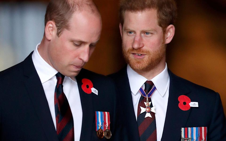 Prince William, Duke of Cambridge and Prince Harry attend an Anzac Day Service of Commemoration and Thanksgiving at Westminster Abbey on April 25, 2018  - Getty Images
