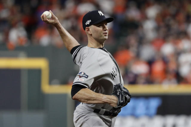 FILE - In this Oct. 13, 2019, file photo, New York Yankees pitcher J.A. Happ throws against the Houston Astros during the 11 inning in Game 2 of baseball's American League Championship Series in Houston. Happ is likely to be among the pitchers the Yankees use in Game 4, manager Aaron Boone said Monday, Oct. 14, 2019. Happ gave up a game-ending home run to Houstons Carlos Correa in Game 2. ( AP Photo/Eric Gay, File)