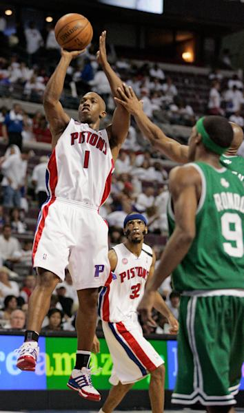 FILE - In this May 24, 2008 file photo, Detroit Pistons guard Chauncey Billups (1) shoots against the Boston Celtics during Game 3 of the NBA basketball Eastern Conference basketball finals in Auburn Hills, Mich. The Pistons have decided to bring back Billups. Pistons president of basketball operations Joe Dumars confirmed the move Thursday morning, July 11, 2013. (AP Photo/Duane Burleson, File)