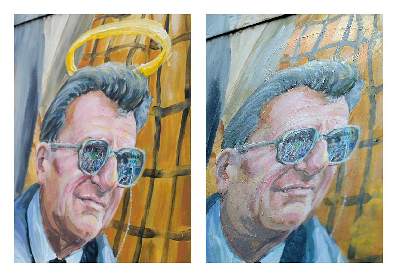 This combination of two photos shows a detail of a mural by Michael Pilato in State College, Pa. depicting a halo over the late Penn State football coach Joe Paterno on Monday, Jan. 23, 2012, left, and the halo removed by the artist on Saturday, July 14, 2012. Pilato had put a halo over Paterno's image after the beloved coach's death in January, but said he felt he had to remove it Saturday after a report that Paterno, former university president Graham Spanier and others buried allegations of child sex-abuse against ex-assistant Jerry Sandusky. Paterno's family denies the claim. (AP Photo/Centre Daily Times, Nabil K. Mark, Abby Drey)