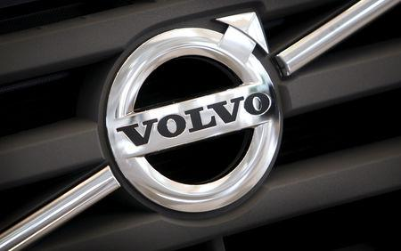 FILE PHOTO: File photo of the logo of Volvo on the front grill of a Volvo truck in a customer showroom at the company's headquarters in Gothenburg