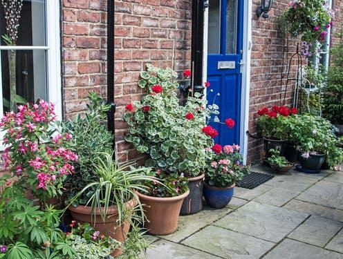 """<span class=""""caption"""">Over a year, the addition of plants caused a 6% decrease in stress levels.</span> <span class=""""attribution""""><a class=""""link rapid-noclick-resp"""" href=""""https://www.shutterstock.com/image-photo/front-house-door-uk-pots-planters-756400696"""" rel=""""nofollow noopener"""" target=""""_blank"""" data-ylk=""""slk:Jeanie333/ Shutterstock"""">Jeanie333/ Shutterstock</a></span>"""