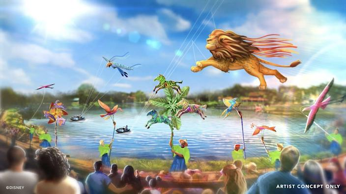 """An artist rendering of the upcoming """"Disney KiteTails"""" show that will debut at Animal Kingdom."""