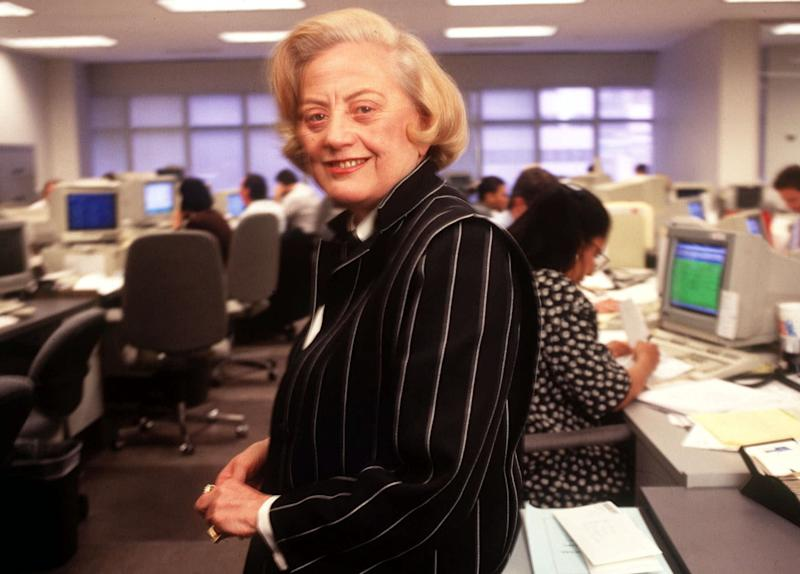 File- This May 9, 1995 file photo shows Muriel Siebert standing on the trading floor of her discount brokerage and underwriting firm in New York. Siebert, who started as a trainee on Wall Street and became the first woman to own a seat on the New York Stock Exchange, has died of complications of cancer at age 80. Siebert died Saturday Aug. 24, 2013, at Memorial Sloan-Kettering Cancer Center in New York. (AP Photo/Wyatt Counts, File)