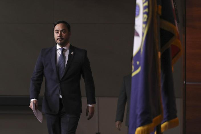 Congressional Hispanic Caucus chairman Rep. Joaquin Castro arrives for a news conference at the Capitol on Nov. 12, 2019. (Drew Angerer / Getty Images file)