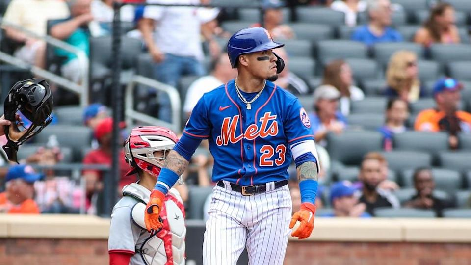 New York Mets second baseman Javier Baez (23) hits a two run home run in the fourth inning against the Washington Nationals at Citi Field.