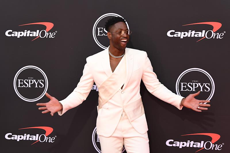 "THE 2019 ESPYS PRESENTED BY CAPITAL ONE - The world's best athletes and biggest stars will join host Tracy Morgan for ""The 2019 ESPYS presented by Capital One."" The star-studded evening celebrates the best moments from the year in sports and will air live from the Microsoft Theater in Los Angeles on WEDNESDAY, JULY 10 (8:00-11:00 p.m. EDT), on ABC. (Image Group LA via Getty Images) DWYANE WADE"