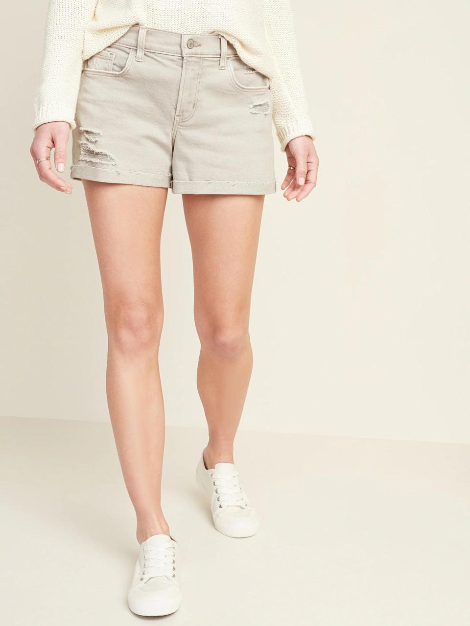 <p>The <span>Old Navy Mid-Rise Distressed Boyfriend Beige-Color Jean Shorts</span> ($15, originally $30) look equally cute with a tucked tank during the day as they would with a lightweight sweater at night.</p>