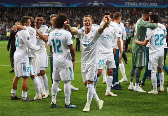 Soccer Football - Champions League Final - Real Madrid v Liverpool - NSC Olympic Stadium, Kiev, Ukraine - May 26, 2018 Real Madrid's Lucas Vazquez celebrates winning the Champions League at the end of the match REUTERS/Hannah McKay