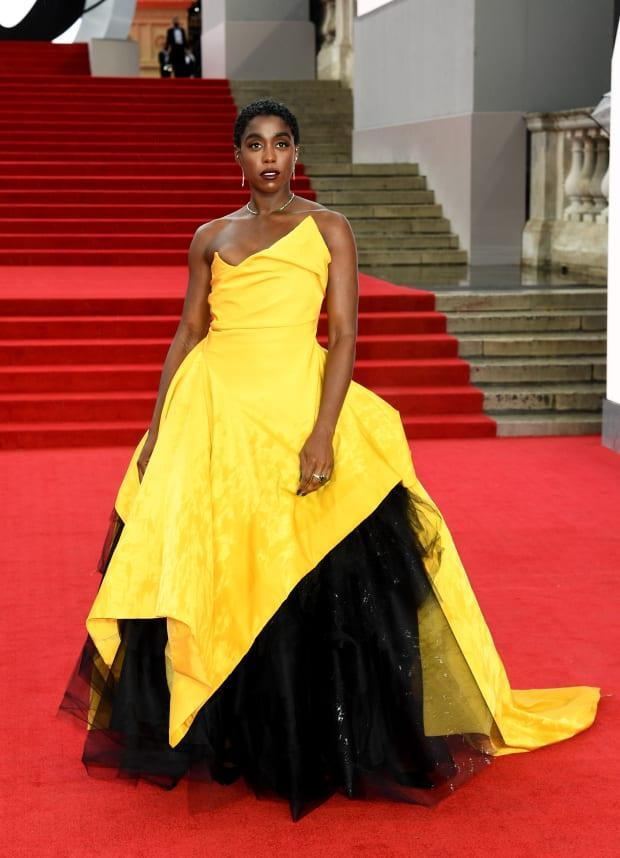 """<p>Lashana Lynch wearing Vivienne Westwood Couture at the """"No Time To Die"""" premiere in London. Photo: Gareth Cattermole/Getty Images</p>"""