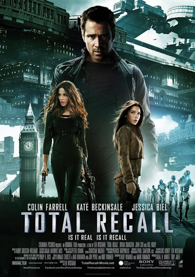 <b>The Worst: TOTAL RECALL</b><br><br>This international poster for 'Total Recall,' featuring a giant Colin Farrell towering over Big Ben, Kate Beckinsale and almost everything else in the future, suffers from serious misjudgement in perspective and placement.