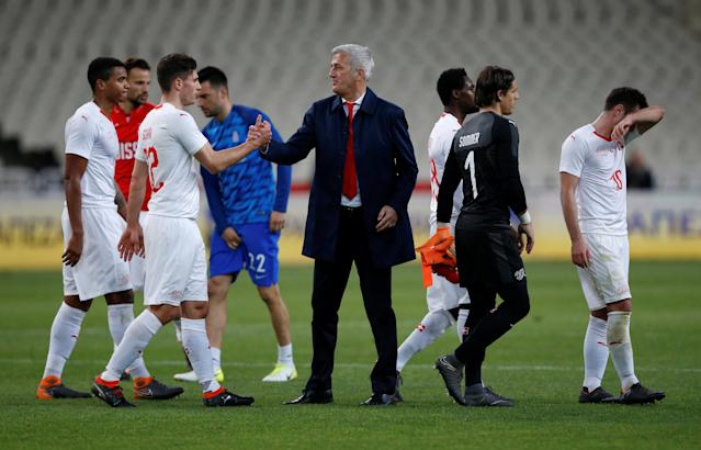 Soccer Football - International Friendly - Greece vs Switzerland - Athens Olympic Stadium, Athens, Greece - March 23, 2018 Switzerland coach Vladimir Petkovic celebrates after the match with Fabian Schar REUTERS/Alkis Konstantinidis