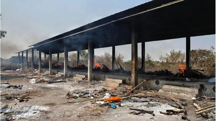 Burning pyres in Lucknow