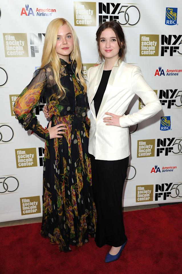 "NEW YORK, NY - OCTOBER 08:  Elle Fanning and Alice Anglert attend the ""Ginger And Rosa"" premiere during the 50th New York Film Festival at Alice Tully Hall at Lincoln Center on October 8, 2012 in New York City.  (Photo by Craig Barritt/Getty Images)"