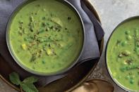 """We love the sweetness that leeks add to this vegetarian soup, which brings together frozen green peas, asparagus, parsley, and fresh thyme. <a href=""""https://www.epicurious.com/recipes/food/views/green-pea-asparagus-and-parsley-soup?mbid=synd_yahoo_rss"""" rel=""""nofollow noopener"""" target=""""_blank"""" data-ylk=""""slk:See recipe."""" class=""""link rapid-noclick-resp"""">See recipe.</a>"""