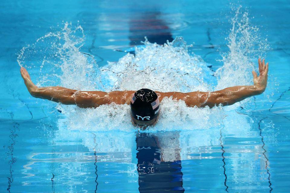 <p>Team USA's Andrew swims in the men's 200m individual medley semifinal.</p>