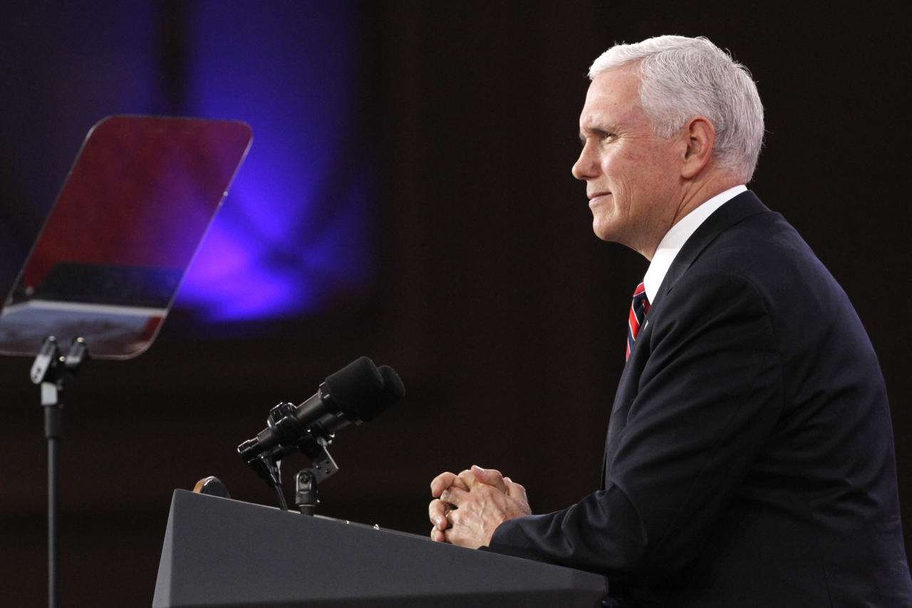 """Vice President Mike Pence pauses as he speaks at the Conservative Political Action Conference (CPAC), at National Harbor, Md., Thursday, Feb. 22, 2018. Pence said that in a meeting with governors at the White House Monday, they and Trump will """"make the safety of our nation's schools and our students our top national priority."""" (AP Photo/Jacquelyn Martin)"""