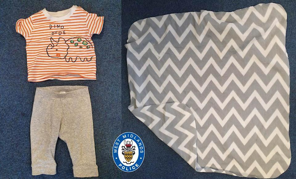 Police previously released images of the clothes the baby was wearing when he was found. (West Midlands Police)