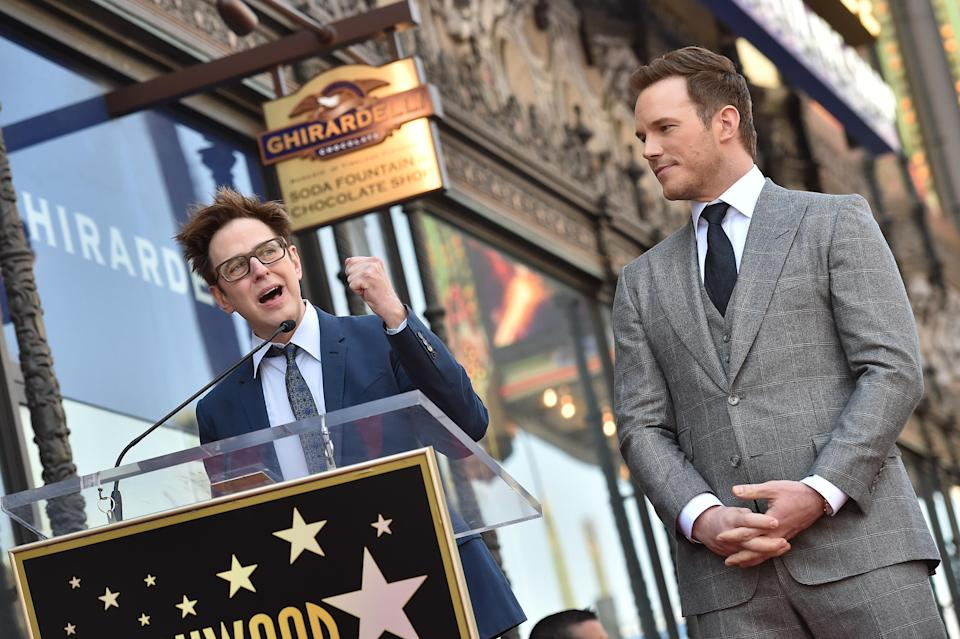 HOLLYWOOD, CA – APRIL 21: Writer/director James Gunn (L) and actor Chris Pratt attend the ceremony honoring Chris Pratt with a star on the Hollywood Walk of Fame on April 21, 2017 in Hollywood, California. (Photo by Axelle/Bauer-Griffin/FilmMagic)
