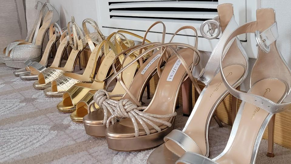 A selection of shoe options for Bassett's Academy Awards look.