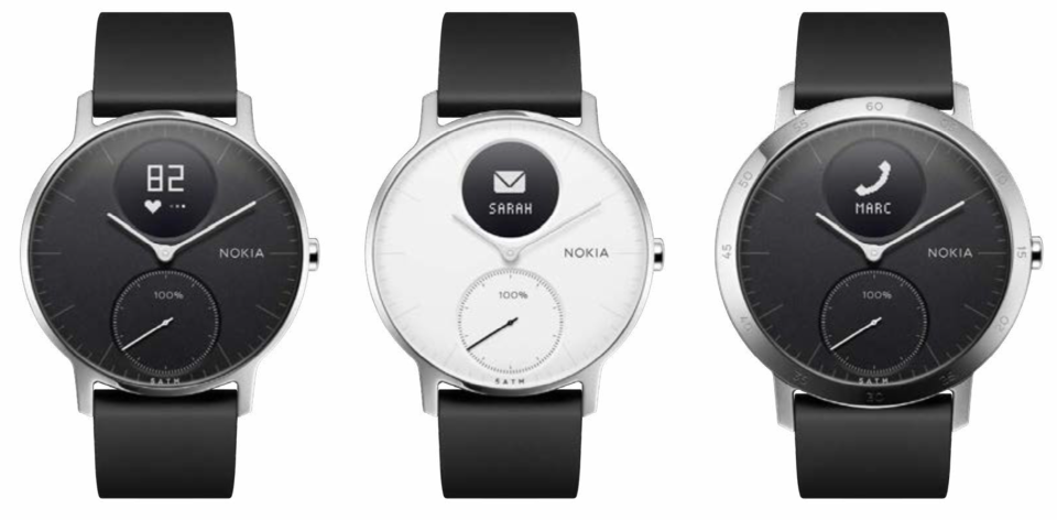 The Nokia Steel HR is available in small models (left, middle) and large (right).