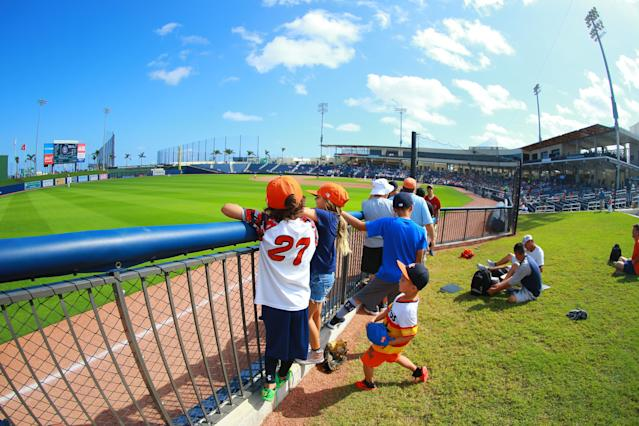 <p>Fans watch the baseball game between the Minnesota Twins and the Houston Astros at the Ballpark of the Palm Beaches in West Palm Beach, Fla. on Feb. 28, 2018. (Photo: Gordon Donovan/Yahoo News) </p>