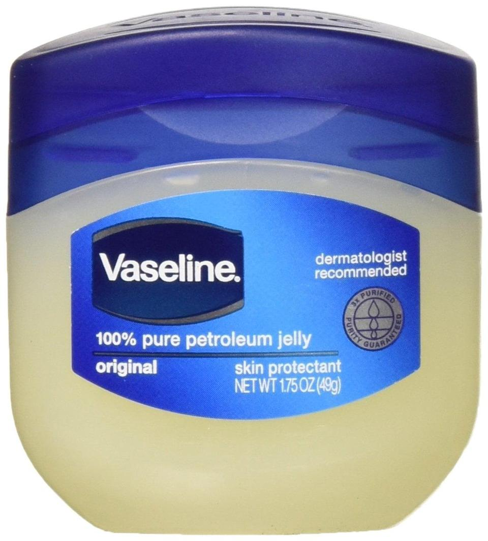 <p>For getting off seriously bold makeup without causing damage to your delicate skin, try <span>Vaseline 100% Pure Petroleum Jelly Skin Protectant </span> ($6, for two). It easily takes off mascara, eyeliner, and lipstick while moisturizing your skin. (Just make sure you use a regular cleanser afterward to get off the residue before heading off to bed.)</p>