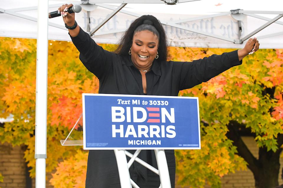 <p>Lizzo spoke during a campaign event for Joe Biden and Kamala Harris in Detroit, Michigan.</p>
