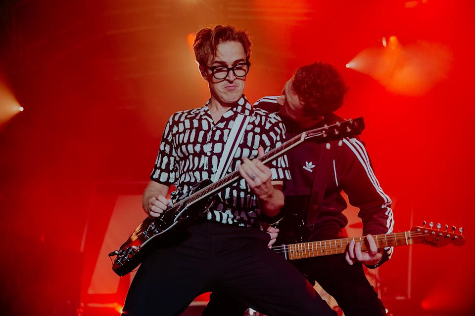 BATH, ENGLAND - AUGUST 07: Tom Fletcher and Danny Jones of Mcfly perform on stage at The Bath Festival Finale at Recreation Ground on August 07, 2021 in Bath, England. (Photo by Mike Lewis Photography/Redferns)