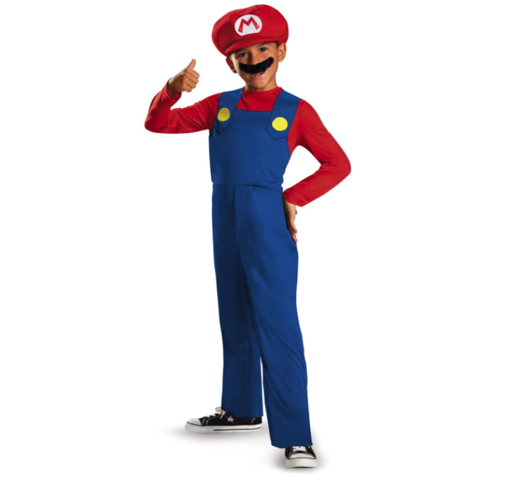 Boy wears Nintendo Super Mario Brothers Classic Boys Costume with blue overalls, red, hat and shirt, and mustache