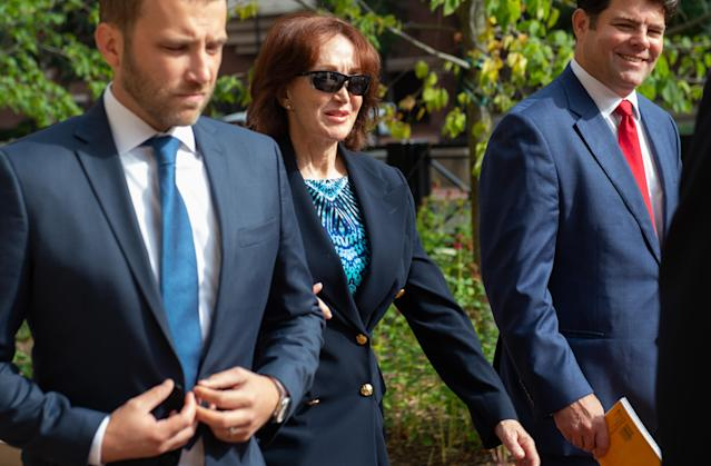 <p>Kathleen Manafort, wife of former Trump campaign manager Paul Manafort, arrives for the second day of jury deliberations in the bank and tax fraud case against her husband at the Albert V. Bryan US Courthouse in Alexandria, Va., Aug. 17, 2018. (Photo: Saul Loeb/AFP/Getty Images) </p>