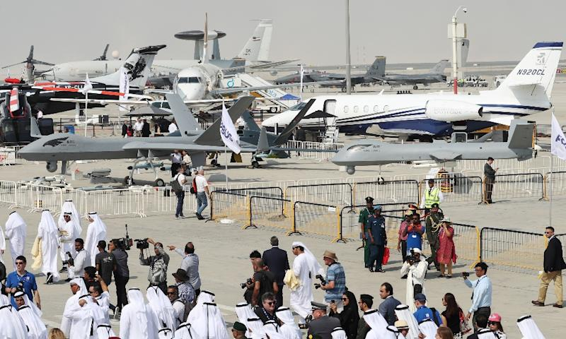 Drones are displayed at the Dubai Airshow on November 12, 2017 in the United Arab Emirates (AFP Photo/KARIM SAHIB)