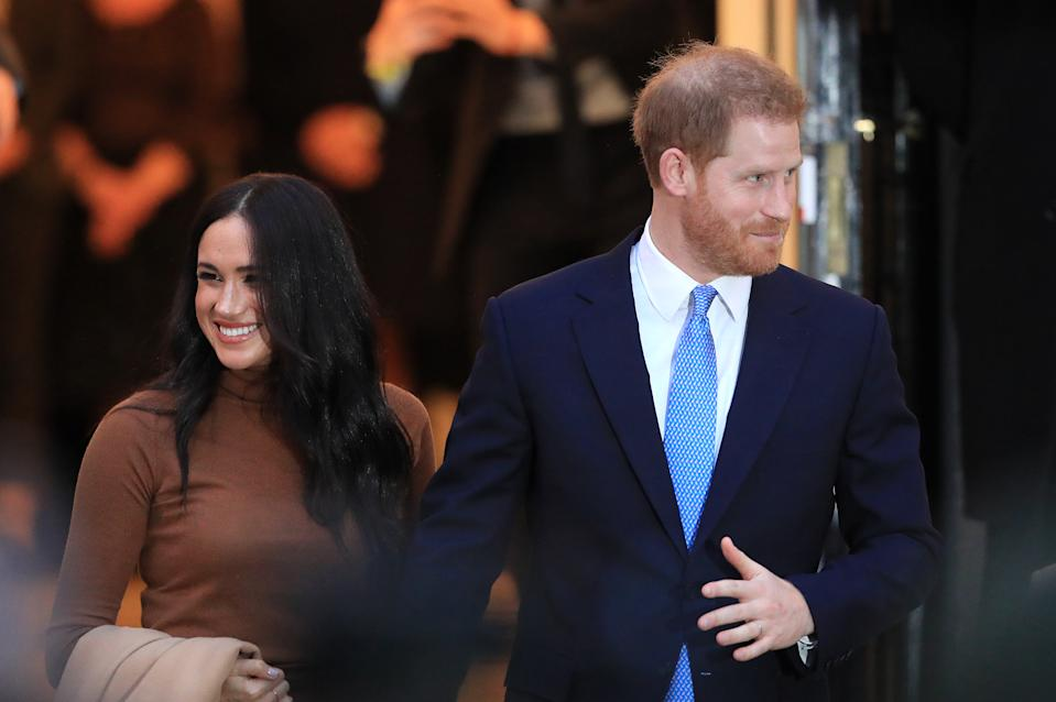 The Duke and Duchess of Sussex leaving after their visit to Canada House, central London, to meet with Canada's High Commissioner to the UK, Janice Charette, as well as staff, to thank them for the warm hospitality and support they received during their recent stay in Canada. (Photo by Aaron Chown/PA Images via Getty Images)