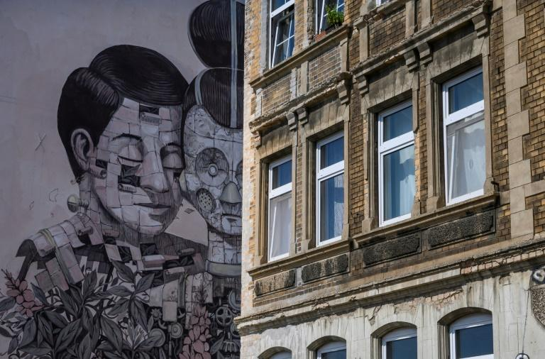 A new urban culture project in the German city of Halle, 170 kilometres (around 100 miles) southwest of Berlin, aims to promote social cohesion by transforming communist era tower blocks into monumental masterpieces (AFP Photo/John MACDOUGALL)