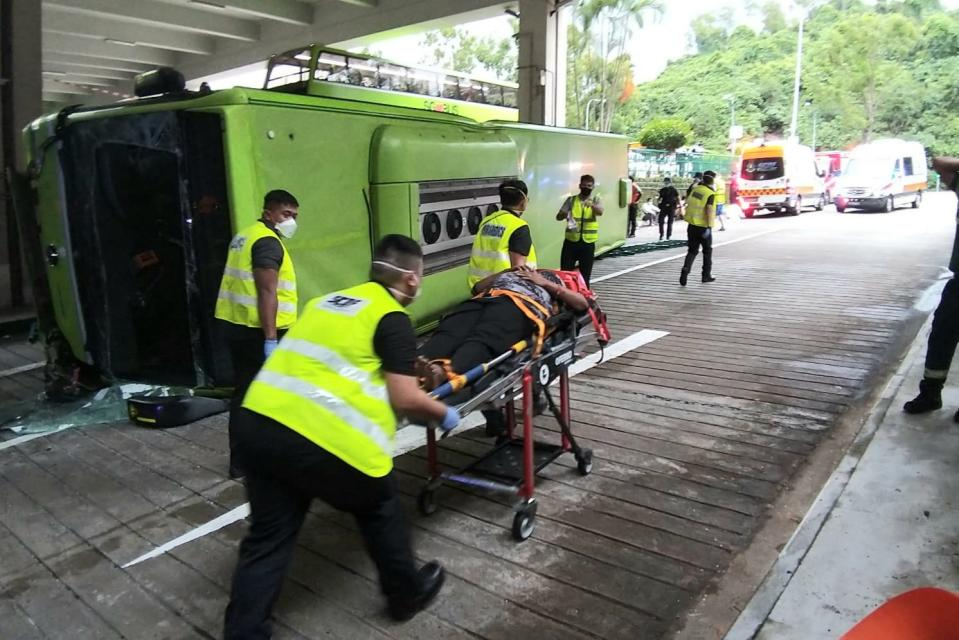 A Bukit Batok bus interchange accident on 11 July 2021 has resulted in 14 persons being conveyed to hospital. (PHOTO: SCDF/Facebook)