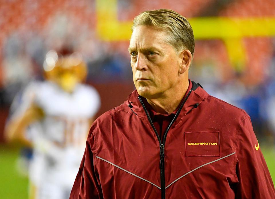 Washington Football Team defensive coordinator Jack Del Rio looks on before a game against the New York Giants at FedExField.