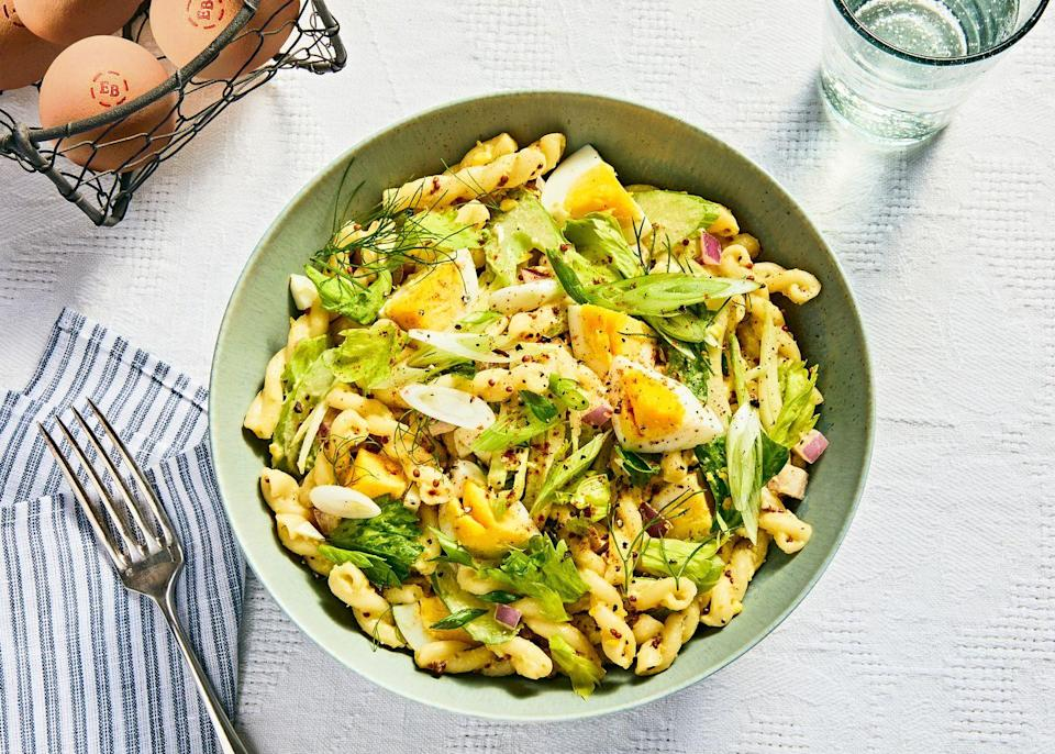 """<p>For those who love deviled eggs, love pasta salad, and don't like to decide, we present this: The best of both combined into one.</p><p><strong><a href=""""https://www.countryliving.com/food-drinks/a33418974/deviled-eggs-pasta-salad/"""" rel=""""nofollow noopener"""" target=""""_blank"""" data-ylk=""""slk:Get the recipe"""" class=""""link rapid-noclick-resp"""">Get the recipe</a>.</strong> </p>"""