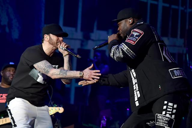 Eminem and 50 Cent perform at the 2018 Coachella Valley Music and Arts Festival. (Photo: Kevin Mazur/Getty Images)