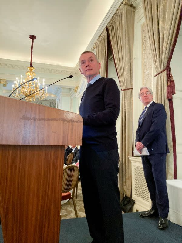 IATA's Director General Willie Walsh speaks at an Aviation Club U.K. event in central London