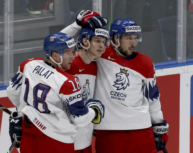 Czech Republic's players celebrate after scoring during the Ice Hockey World Championships group B match between Austria and Czech Republic at the Ondrej Nepela Arena in Bratislava, Slovakia, Sunday, May 19, 2019. (AP Photo/Ronald Zak)