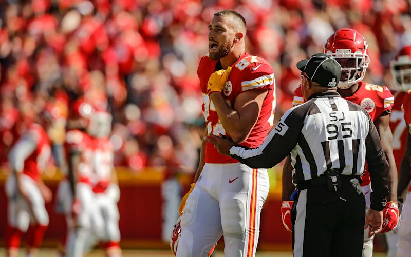 KANSAS CITY, MO - OCTOBER 13: Travis Kelce #87 of the Kansas City Chiefs protests the lack of a pass interference call by the Houston Texans in the fourth quarter at Arrowhead Stadium on October 13, 2019 in Kansas City, Missouri. (Photo by David Eulitt/Getty Images)