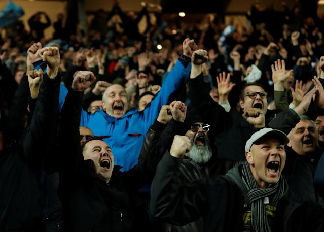 Soccer Football - FA Cup Fourth Round - Milton Keynes Dons vs Coventry City - Stadium MK, Milton Keynes, Britain - January 27, 2018 Coventry fans celebrate at the end of the match Action Images/Andrew Boyers