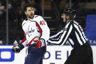 Washington Capitals' Tom Wilson (43) yells at the New York Rangers bench after taking a second-period penalty during an NHL hockey game Monday, May 3, 2021, in New York. (Bruce Bennett/Pool Photo via AP)