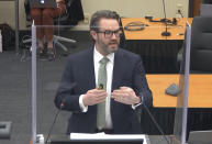 FILE - In this April 18, 2021 file image from video, defense attorney Eric Nelson gives closing arguments in Minneapolis, Minn. during the trial of former Minneapolis police Officer Derek Chauvin for the 2020 death of George Floyd. (Court TV via AP, Pool, File)