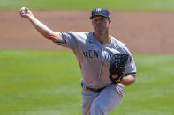 New York Yankees starting pitcher Corey Kluber throws against the Toronto Blue Jays during the first inning of a baseball game Wednesday, April 14, 2021, in Dunedin, Fla. (AP Photo/Mike Carlson)