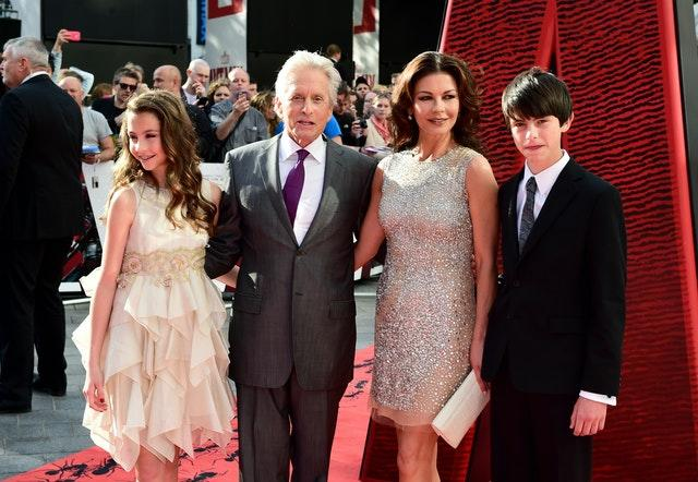 Michael Douglas and Catherine Zeta-Jones with their son Dylan and daughter Carys in 2015