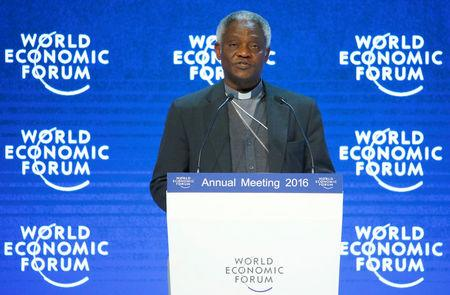 FILE PHOTO: Cardinal Turkson, President of the Pontifical Council for Justice and Peace addresses the attendees during the Annual Meeting of the WEF in Davos
