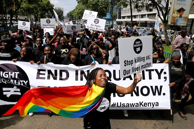 Demonstrators take part in a global protest campaigning against inequality ahead of the Davos World Economic Forum, in Nairobi, Kenya, January 17, 2020. REUTERS/Baz Ratner