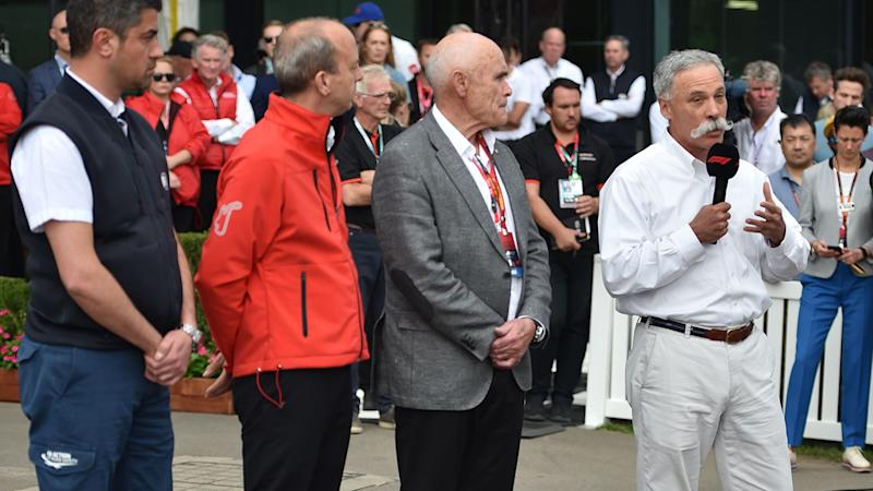Chase Carey, pictured here addressing the media at the Australian Grand Prix.